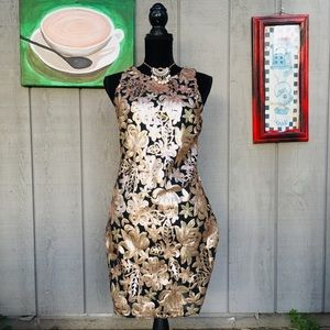 Romeo + Juliet Gold Sequins Bodycon Dress Size S